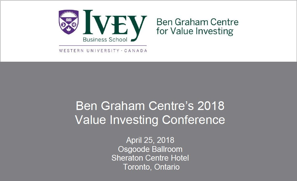 Ben Graham Centre's 2018 Value Investing Conference F